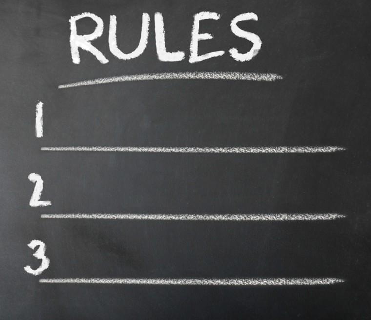 Chalk board with rules written