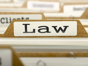 Law Concept. Word on Folder Register of Card Index. Selective Focus.