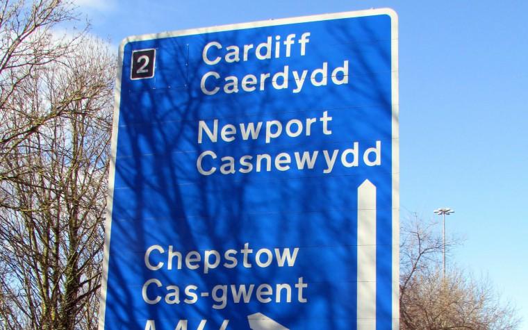 Welsh road sign