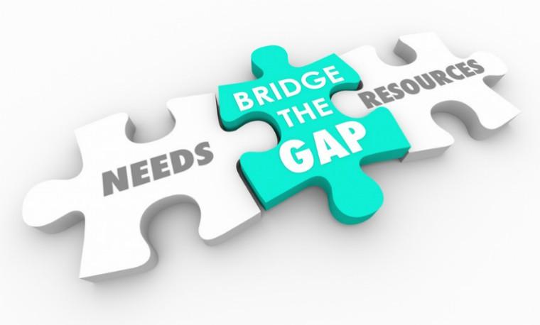 needs, bridge the gap, resources graphic