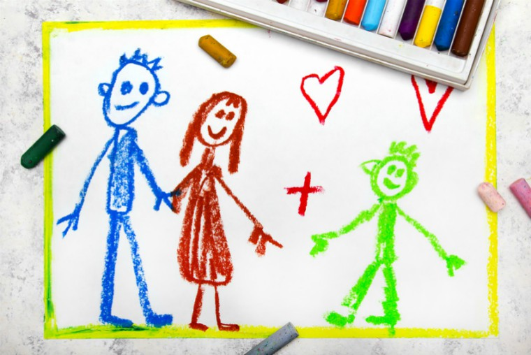 Drawing of couple and child