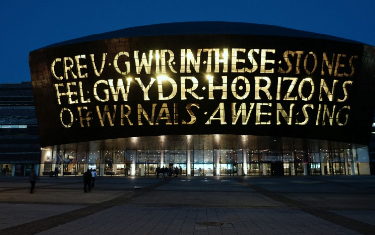 Cardiff Millenium Centre - Welsh and English sign