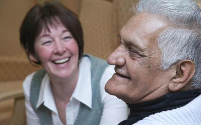 older man and advocate in care home