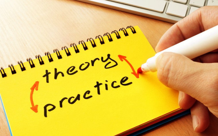 Note pad with the words theory and practice on it
