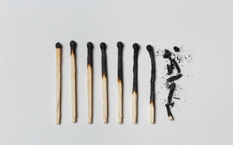 row of burnt matches