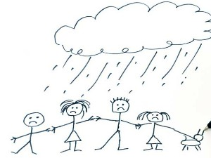 child's drawing of unhappy family