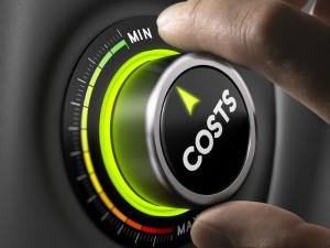 Costs dial with minimum and maximum