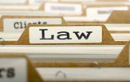 Law Concept. Word on Folder Register of Card Index.