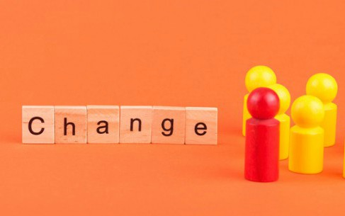 the word 'change' and wooden people