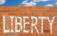 Abstract brick wall with the word 'liberty'