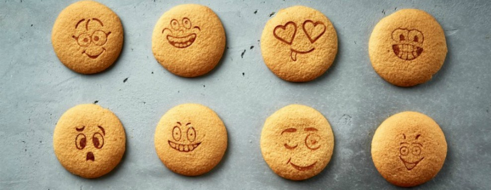 biscuits with different emotion faces