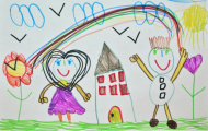 child's drawing of a house with a rainbow