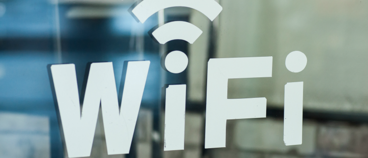 Wifi sign in a cafe window