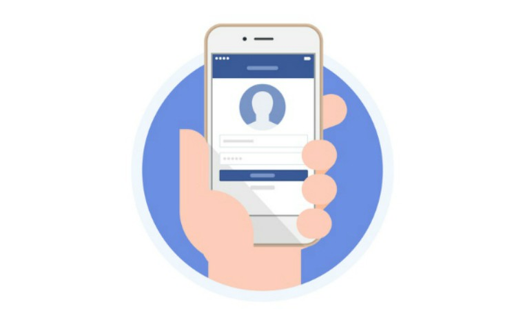 hand holding phone with social media login screen