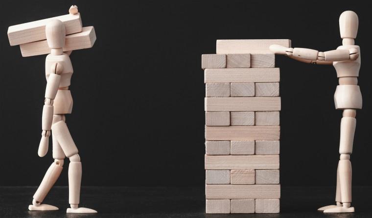 Wooden figures using building blocks