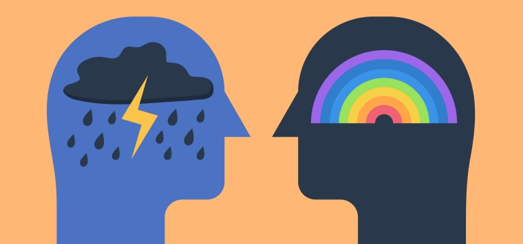 two head silhouettes with a storm and a rainbow