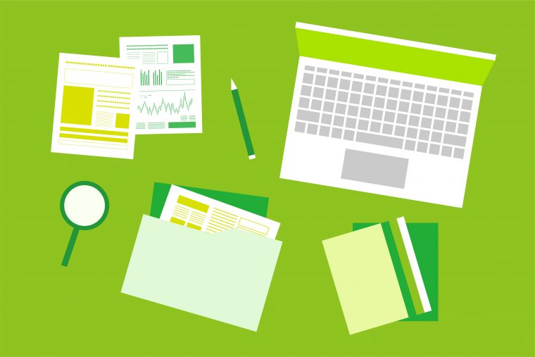Green-toned drawing of a laptop, notes, folders, charts, a pencil and a magnifying glass.