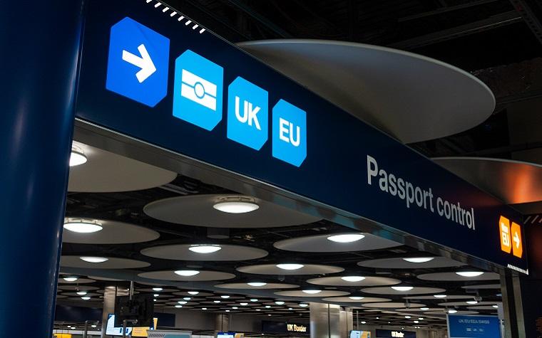 Passport Control for UK and EU at Heathrow airport