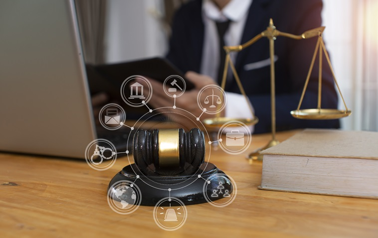 Gavel, scales of justice