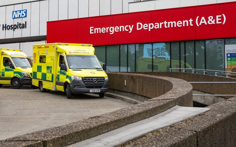 ambulance otuside hospital emergency department