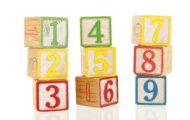 child's blocks with numbers 1 to 9