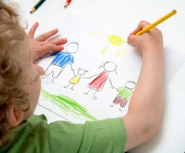 child drawing a family