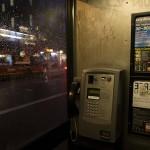 Phone box at night