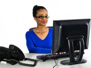 Woman using PC
