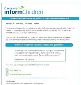 Children activation email screen grab