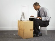 Man at makeshift desk