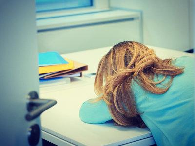 Social worker asleep at work