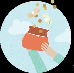 Illustration of money falling into purse