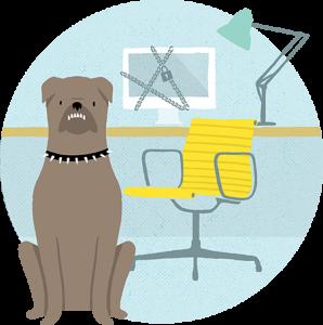 Dog guarding desk illustration