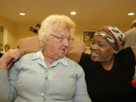 Resident and staff member in care home