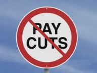 No to pay cuts sign