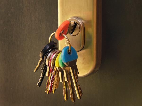 bunch of keys in a door