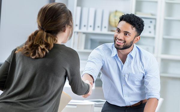 man meeting woman