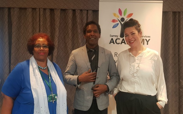 Dame Lorna Boreland-Kelly, Lemn Sissay and Dez Holmes at launch of Surrey Academy