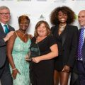 Louise Pashley, overall winner at the Social Worker of the Year Awards (centre), with (from left) chair of trustees Peter Hay, awards founder Beverely Williams, awards patron and presenter Lorraine Pascale and James Rook,, chief executive of headline sponsor Sanctuary Peronnel