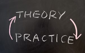 Image of the words 'theory' and 'practice' written on a blackboard (credit: raywoo / Adobe Stock)