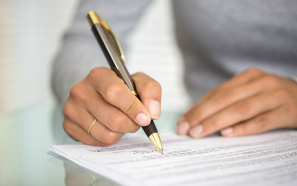 Person signing legal letter