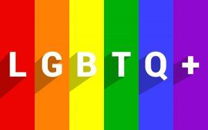 Rainbow flag with LGBTQ+