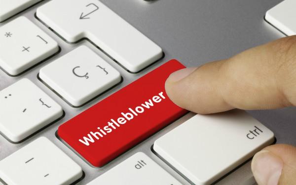 Whistleblower key on keyboard