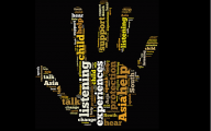word cloud in shape of a hand featuring words connected to research into CSA of south asian children