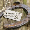 Horseshoe with message 'happy birthday and good luck 50'