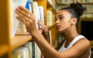 Black student in university library