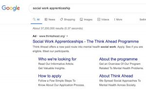 Image of Think Ahead Google Ad suggesting the provider offers social work apprenticeships