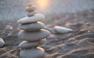 Pebbles balanced on a beach