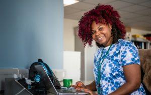 Surrey social worker at desk