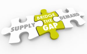 Jigsaw puzzle showing supply demand gap